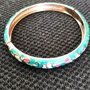 Enamel Floral Hinge Gold Colored Metal Cuff